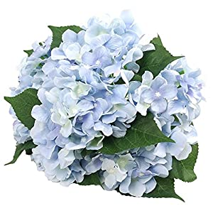 SODIAL Artificial Flowers Silk 7 Big Head Hydrangea Bouquet for Wedding, Room, Home, Hotel, Party Decoration and Holiday Gift Blue 87