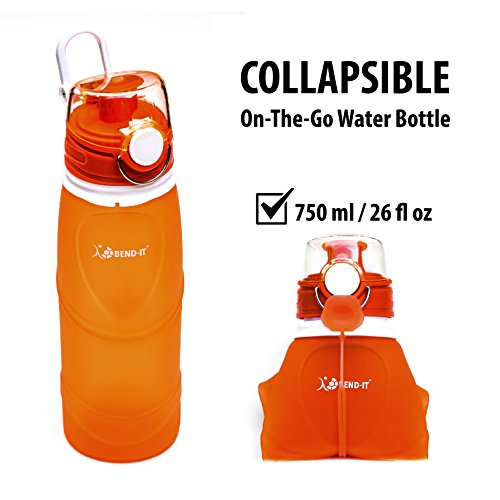 Bend-It Foldable Collapsible Orange Water Bottle For Kids, Gifts For Young Women, Water Bottle For Girls, Water Sports Bottle, Golf, Gym, Volleyball, Soccer, 26 Ounce Tennis Water Bottle Set