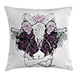 voodoo head - Ambesonne Skull Decorations Throw Pillow Cushion Cover, Tribal Lady with Horned Goat Head and Peacock Feather Mystic Voodoo Pattern, Decorative Square Accent Pillow Case, 20 X 20 Inches, Multi