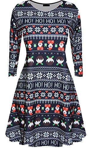 Cruiize Des Femmes De Noël Classique Longue Robes De Soirée Swing Imprimé Manches Bleu Foncé