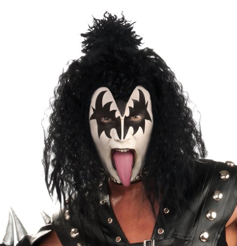 The Kiss Costume (Kiss Wig, Black, One Size)