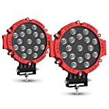 2PACK 7' LED Offroad Pod Lights Bar 51W with Mounting Bracket, Red Round Spot Bumper Driving Lamp Headlight Fog Light for Offroader, Truck, Car, ATV, SUV, Jeep, Construction, Camping, Hunters