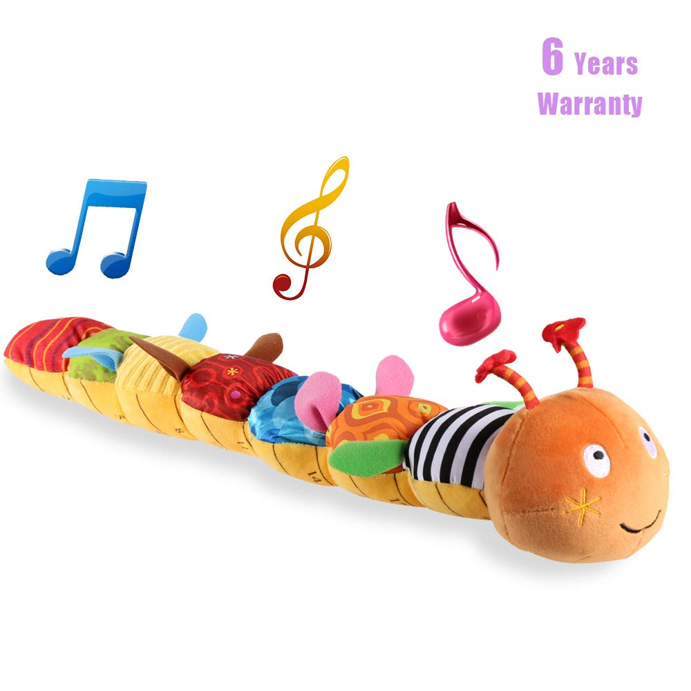 LIGHTDESIRE Musical Toy Caterpillar, [Newest] Crinkle Rattle Soft with Ring Bell Toddler Plush Toy for Preschool Kid