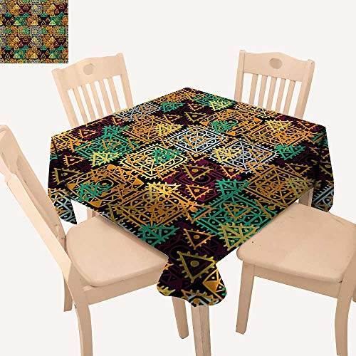 Triangles Tablecloth Pool (WinfreyDecor Modern Art Jacquard Tablecloth Folk Aztec Motif with Ornate Triangles and Rounds and Inner Spots Dots Figures Small Square Tablecloth Multicolor W 36