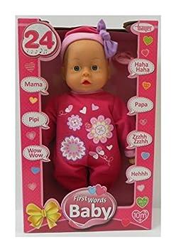 Bayer Design 9386300 - Funktionspuppe First Words Baby mit 24 Lauten, 38 cm, rosa