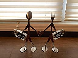 salt and pepper set, grinder spoon and fork sculpture his and hers, Kitchen decor