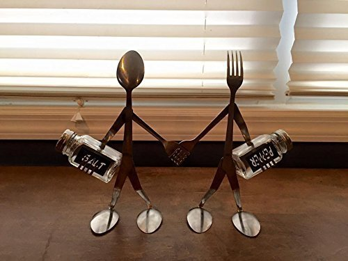 salt and pepper set, grinder spoon and fork sculpture his and hers, Kitchen decor ()