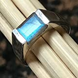 Natural Blue Iridescence Labradorite 925 Sterling Silver Men's Ring sz 9, 10, 11, 12