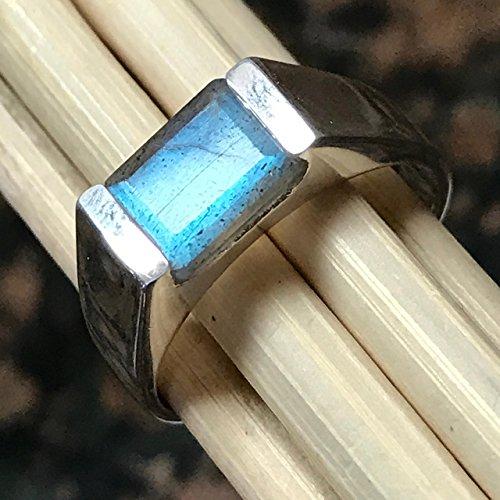 Natural Blue Iridescence Labradorite 925 Sterling Silver Men's Ring sz 9, 10, 11, 12 by Natural Rocks by Kala