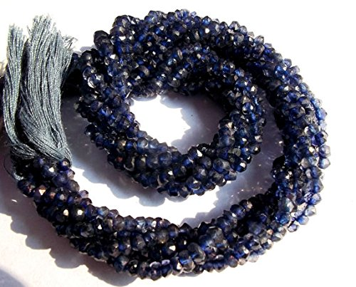 Devgemsandjewels 13 Inch x 10 Strand Fine Quality IOLITE 3-3.5 mm Approx Faceted Rondelle beads. ()