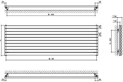H 584 mm x B 1000 mm Design Paneelheizk/örper horizontal Heizk/örper Badheizk/örper Heizwand Forte weiss einlagig
