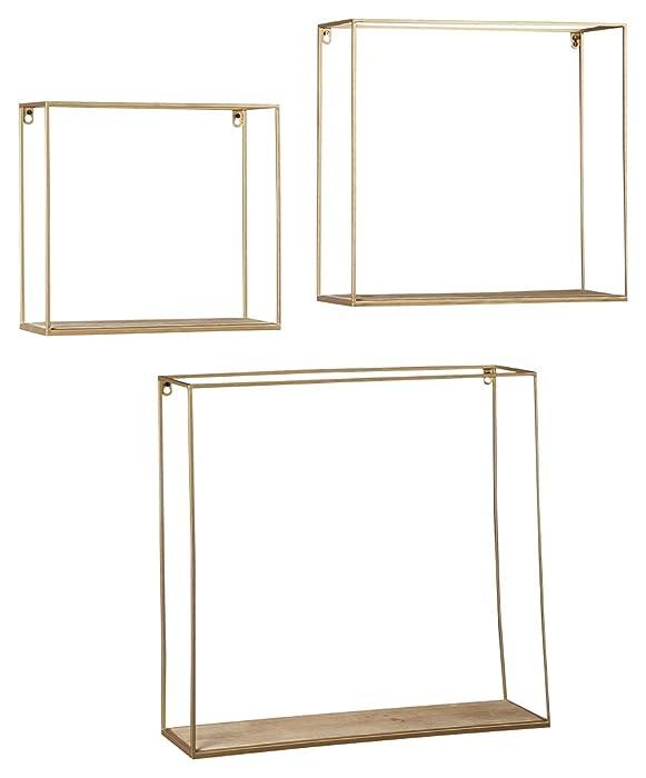 Ashley Furniture Signature Design - Efharis Wall Shelf - Set of Three - Contemporary Chic - Natural/Gold Finish