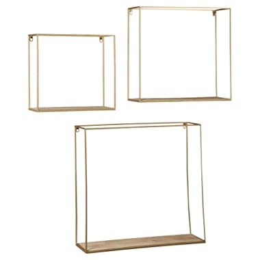 Signature Design by Ashley Efharis ((3 Piece) Wall Shelf Set, Natural/Gold Finish