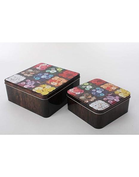 Home Line Cajas de Metal - Modelo Botones. Set 2 Cajas