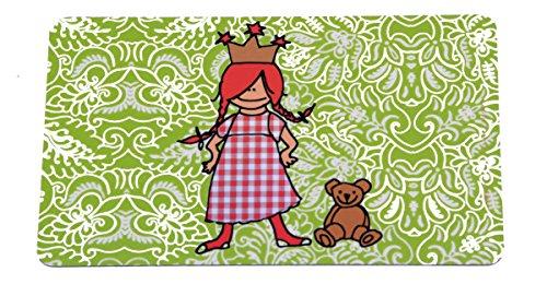 Kinder Schneidebrettchen Frühstücksbrettchen 'Prinzessin mit Teddy' in Grün 23x14 cm