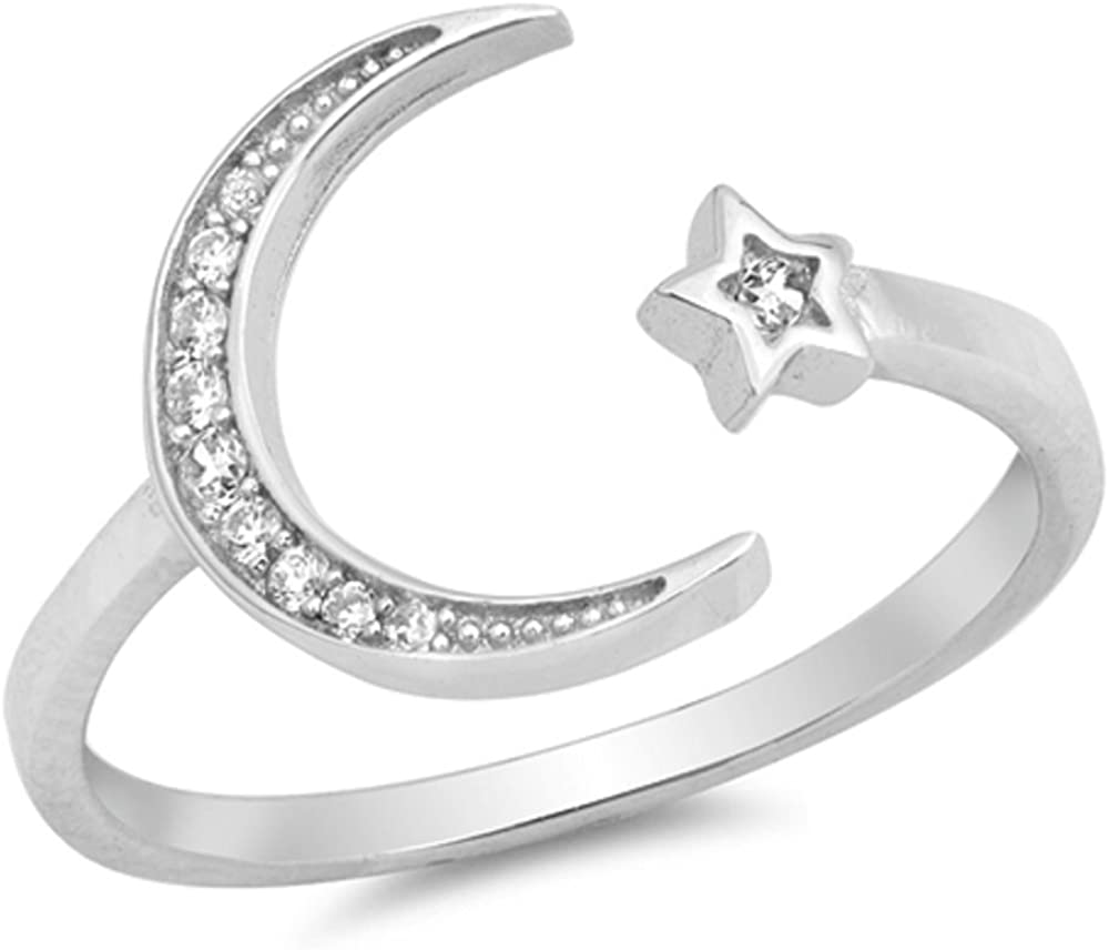 CloseoutWarehouse Clear Cubic Zirconia Moon and Shooting Star Ring Sterling Silver