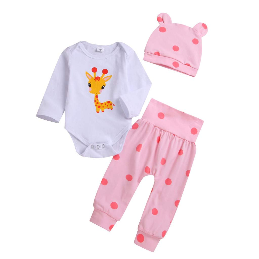 MONsin Unisex-Baby Romper+Pants+Hat Set Outfit Toddler Newborn Baby Long Sleeve Cartoon Deer Print Clothes Suit (Pink, 70(3-6 Months))