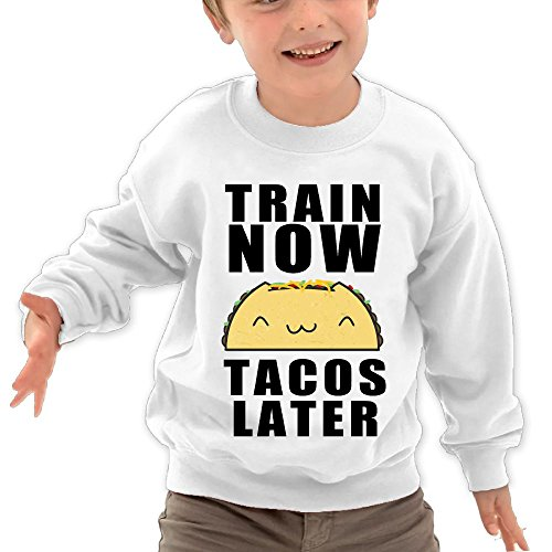 Price comparison product image Puppylol Train Now Tacos Later Kids Classic Crew-Neck Pullover Hoodie White 3 Toddler