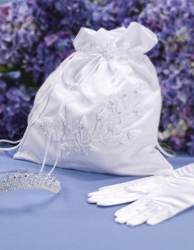 Darice VL2030-01, Baby Rose Collection Money Bag, White