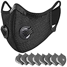 Reusable Dust Face Mouth, PETHREE Earloop Dust Mouth with Activated Carbon and Valves for Allergy, Woodworking, Mowing, Outdoor Activities, Etc (1 Black + 8 Additional Filters)