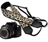 Leopard camera strap. Black and brown animal print camera strap. Cheetah DSLR / SLR Camera Strap. Durable, light weight and well padded camera strap. code 00075