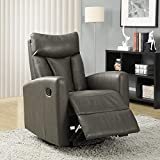 Best Chairs Rocker Recliners - Monarch Specialties I 8087GY Charcoal Grey Bonded Leather Review
