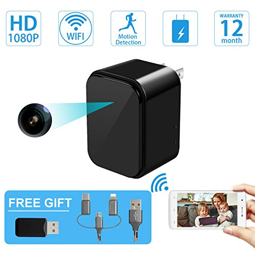 Mini Spy Camera-USB Charger Hidden Camera-SOOSPY Wireless WiFi 1080P Indoor Home Wall Charger Camera/Nanny Cam with Motion Detection/USB Port by SOOSPY