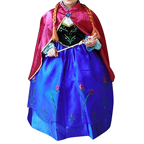Anbelarui Girls New Princess Party Cosplay Costume Long Dress up 3-9 Years (7-8 Years, Purple Dress&Accessories Set) by Anbelarui (Image #3)