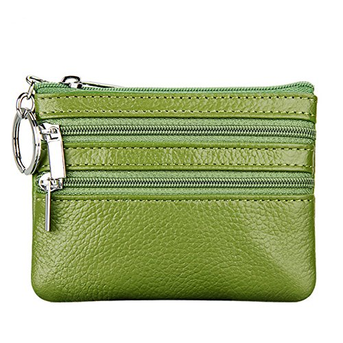 (Women's Genuine Leather Coin Purse Mini Pouch Change Wallet with Key Ring,green)