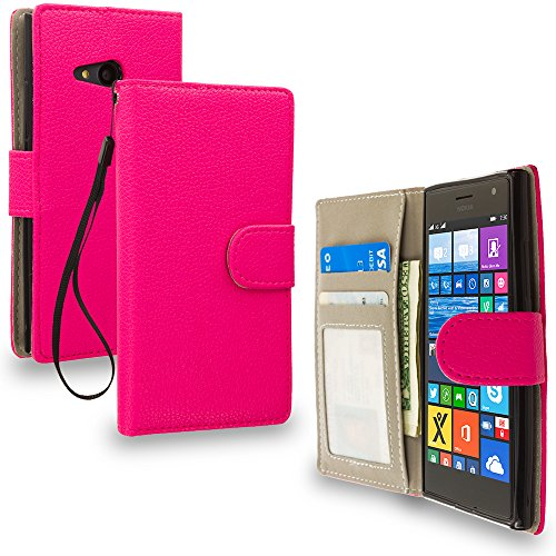 Cell Accessories For Less (TM) Hot Pink Leather Wallet Pouch Case Cover with Slots for Nokia Lumia 730 735 Bundle (Stylus & Micro Cleaning Cloth) - By TheTargetBuys