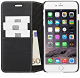 StilGut® Talis without Clip, Genuine Leather Wallet Case for Apple iPhone 6 Plus (5.5''), Black Nappa
