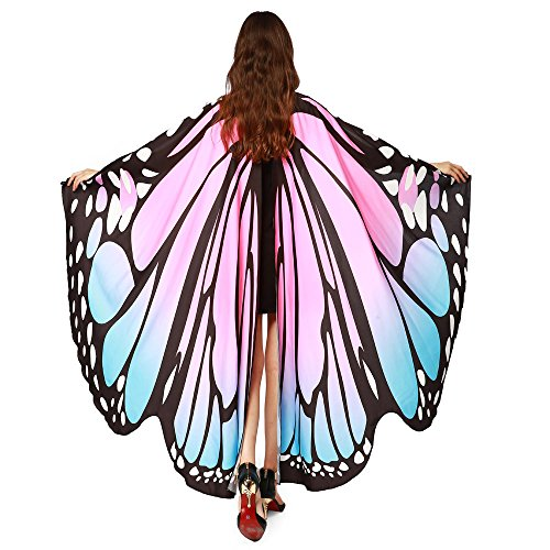 Respctful✿Butterfly Wings for Women, Butterfly Shawl Fairy Ladies Cape Nymph Pixie Costume Accessory Pink]()