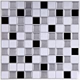 Ecoart Mosaic Peel and Stick Tile Backsplash for Kitchen Bathroom 10' X 10' in Silver Black and White (Pack of 6)
