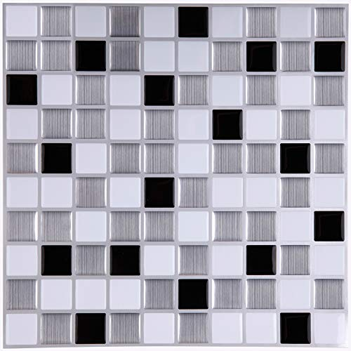 Peel And Stick Tiles Ceramic (Ecoart Mosaic Peel and Stick Tile Backsplash for Kitchen Bathroom 10