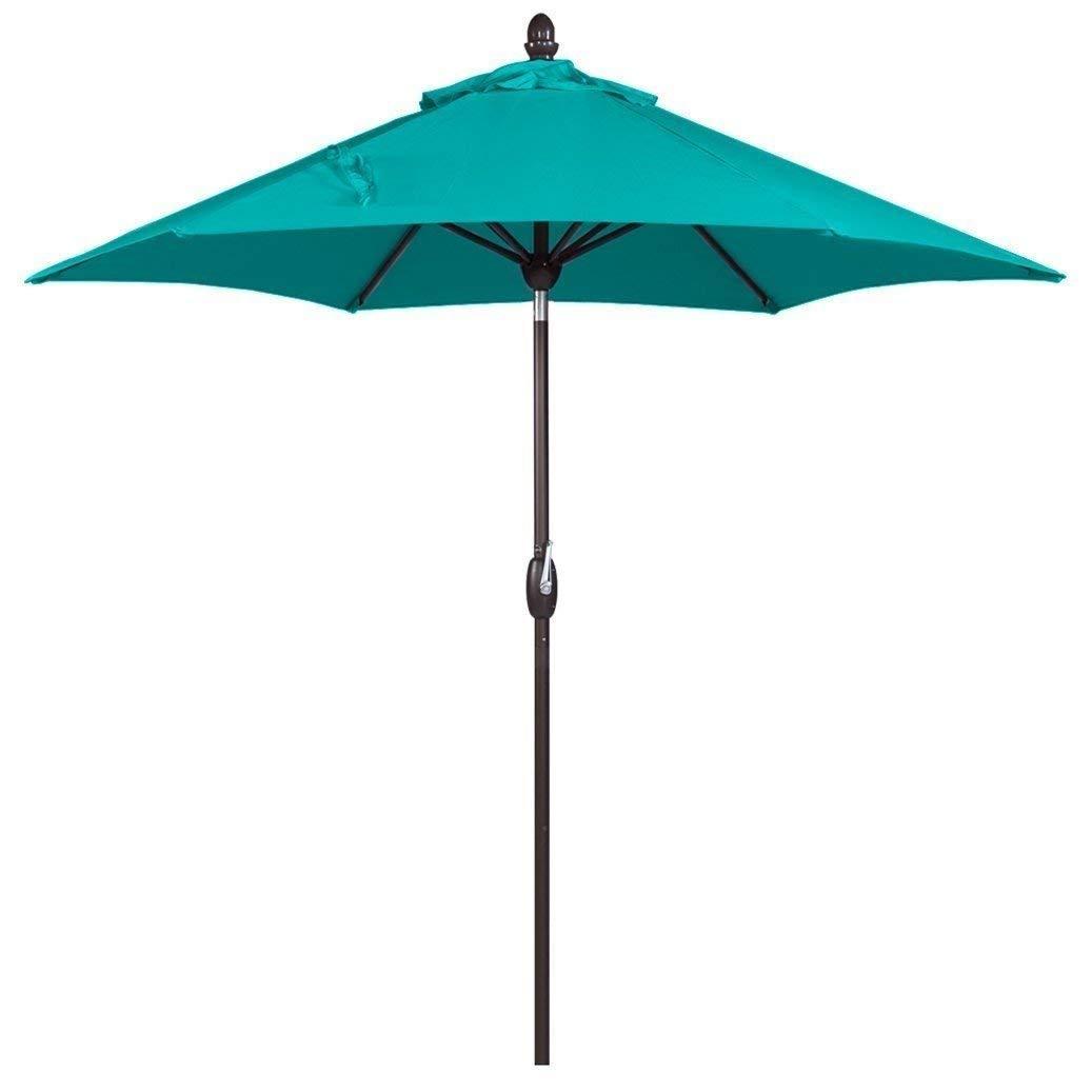 SORARA Parasol Sun Shade Garden Umbrella | Turquoise | ø 270 cm | Round INTI (Bronzed Pole)| Polyester 180 g/m² (UV 50+) | Crank, Tilt (Incl. Cover. Excl. Base)