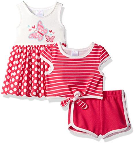 Youngland Baby Girls' 3 Pc Set Dress, Pop-Over Top, Knit Short