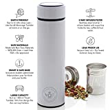 Teabloom All-Purpose Beverage Tumbler - 16 oz - 480 ml - Brushed Metal Insulated Water Bottle/Tea Flask/Cold Brew Coffee Mug - Extra-Fine Two-Way Infuser Travel Bottle - Pearl White