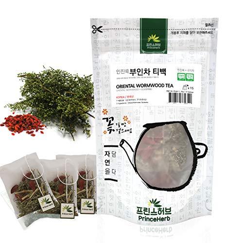 [Medicinal Korean Herb Tea] 100% Natural Oriental Wormwood Tea ( Lycii Fructus & Oriental Wormwood ) / 쑥 티백 차 40g ( 15 teabags )