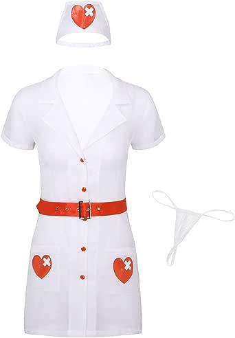 iixpin Disfraz Enfermera Mujer Sexy Uniforme 4Pcs Mini Vestido ...