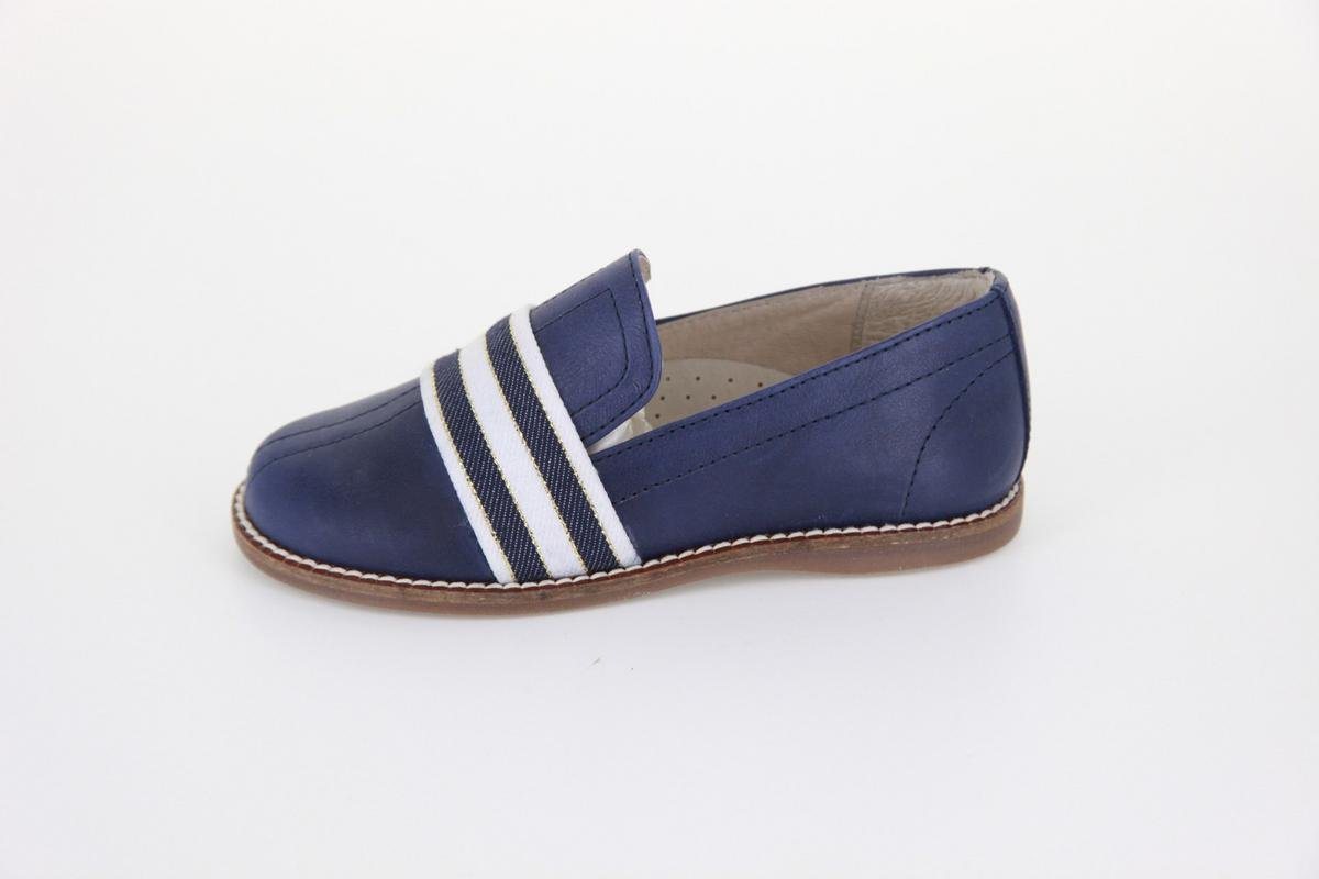 Hoo Shoes Boy's & Girl's Hoova Slip On Navy Leather With Gold Striped Banded Loafer Flat Shoe 31 M EU/13 M US Little Kid