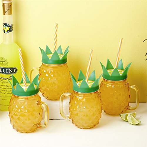 Twos Company Club Tropicana Set of 4 Pineapple Drinking Glasses in Gift Box (Pineapple Club The)