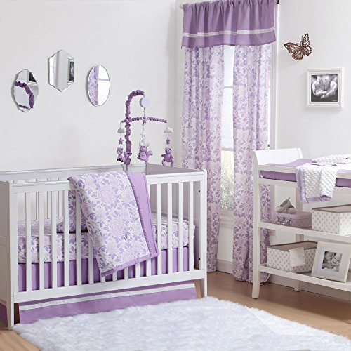 Floral Musical Crib (Purple Rose Floral 4 Piece Baby Crib Bedding Set by The Peanut Shell)