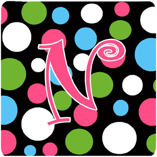 Set of 4 Multicolor Initial Letter N Carolines Treasures CJ1038-NFC Monogram-Polkadots and Pink Foam Coasters 3.5 H x 3.5 W