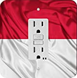Rikki Knight 1710 GFI Single Indonesia Flag Design Light Switch Plate