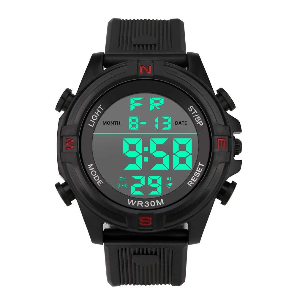 Reloj digital para hombre DYTA LED para deportes al aire libre, 5 ATM, resistente al agua, reloj de cuarzo militar, con correa de silicona, ...
