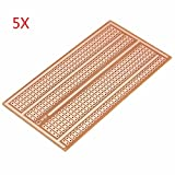 Pukido 5pcs 5X10cm Single Side Copper Prototype Paper PCB Breadboard 2-3-5 Joint Hole