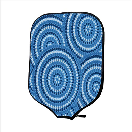 iPrint Neoprene Pickleball Paddle Racket Cover Case,Navy Blue Decor,Abstract Aboriginal Ethnic Indigenous Australian Mosaic Style Dots Boho Art,Dark Blue,Fit for Most Rackets - Protect Your Paddle