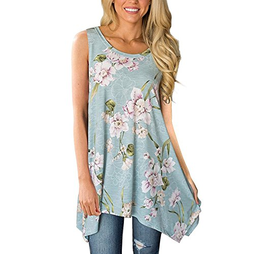 Happy Gogo Askwind Womens Floral Print Cut Out Shoulder Short Sleeve T Shirt Blouse  S  Light Blue2