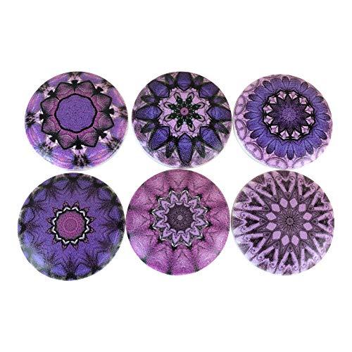 Set of 6 Chakra Mandala Wood Cabinet Knobs (Purple)