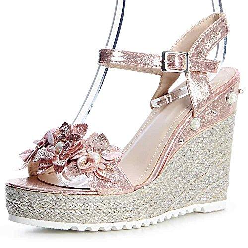 Femmes 824 Rose Sandales Topschuhe24 Or Sandalettes HYO616wq
